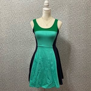 ❤️Express Green Blue Scoop Fit&Flare Mini Dress M